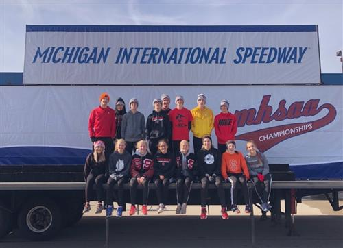 Cross country runners at Michigan International Speedway
